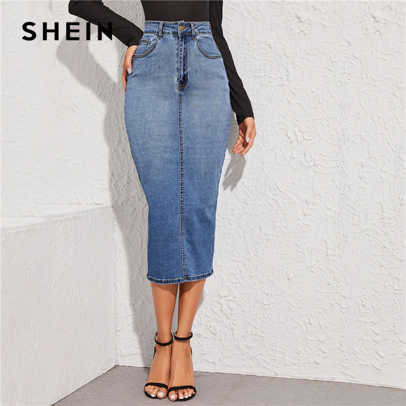 SHEIN Blue Split Back Bodycon Denim Skirts Womens Spring Autumn High Waist Slim Fitted Casual Long Pencil Skirt
