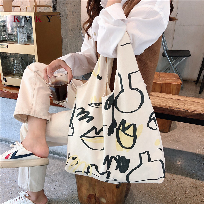 Fashion Women Shopping Bag Grocery Simple Print Letter Fashion Large Capacity Casual Canvas Wild Canvas Cotton Ecobag Totes Sac