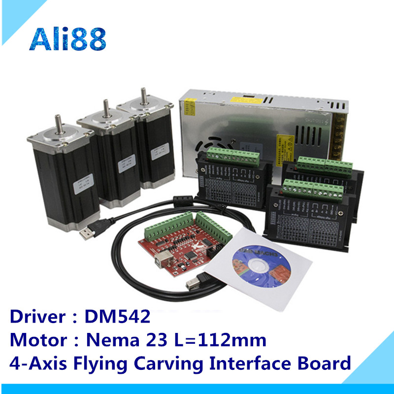 <font><b>3</b></font> <font><b>Axis</b></font> <font><b>CNC</b></font> Router <font><b>Kit</b></font> 3Nm/425oz.in Nema 23 Stepper Motor & DM542 servo Driver <font><b>CNC</b></font> <font><b>Mill</b></font> Router Lathe +4-<font><b>axis</b></font> Breakout Board image