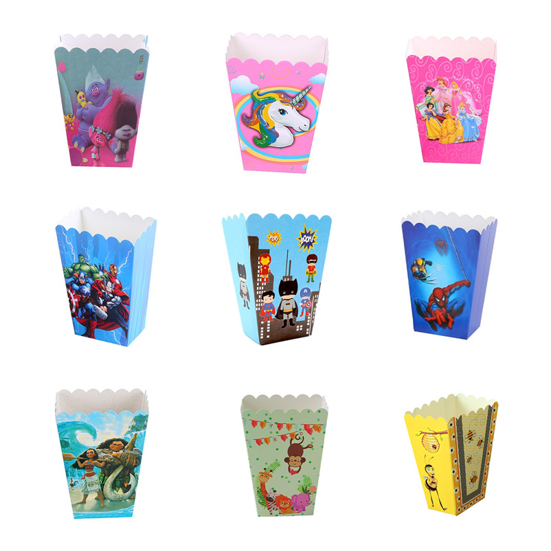 6pcs/pack Zoo Animal Popcorn Boxes Baby Shower Party Gift Snacks Pop Corn Box Bee Mermaid Dinosaur Birthday Party Cartoon Figure