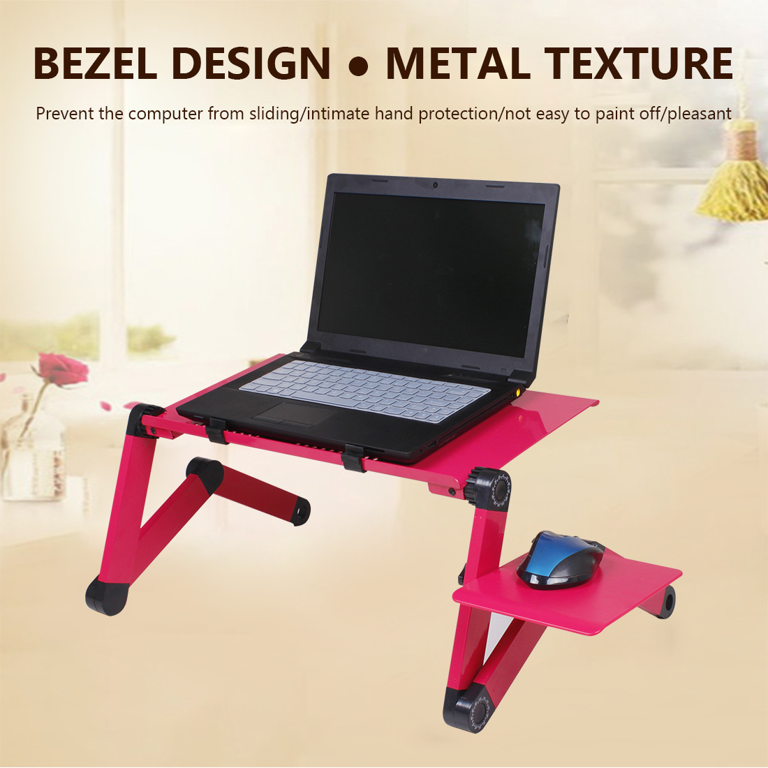 Adjustable Notebook Desk  Aluminum Laptop Desk Portable Bed Lapdesk Tray PC Table Stand Notebook Table Desk Stand With Mouse Pad