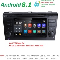 Android 8.1 Fit MAZDA3 2004 2009 Car Monitor DVD Player Navigation GPS Radio 2DIN 1024*600 Quad Core RDS 4G WIFI BT CANBUS SWC