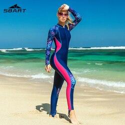 Sbart fino impresso manga longa rash guard feminino uma peça maiôs de banho feminino zip up surf wetsuits fatos de banho