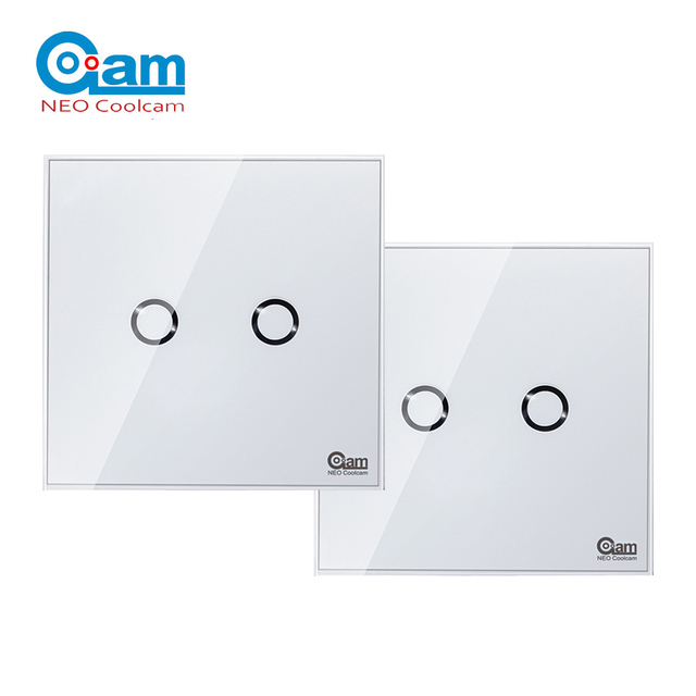 NEO COOLCAM NAS SC01Z interruptor de luz de pared z wave Plus, 2CH Gang Home Automation Z wave, interruptor de luz de Control remoto inalámbrico