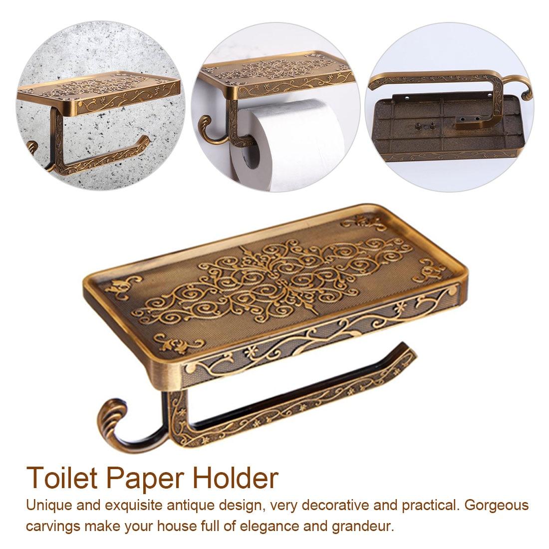 Antique Brass Toilet Paper Holder Bathroom Mobile Holder Toilet Tissue Paper Roll Holder Bathroom Storage Rack Accessory