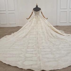 Image 2 - HTL1249 2020 sparkly งานแต่งงานชุดปิดไหล่แขนสั้นประดับด้วยลูกปัด applique โบว์ Petite งานแต่งงานชุด платье на выпускной