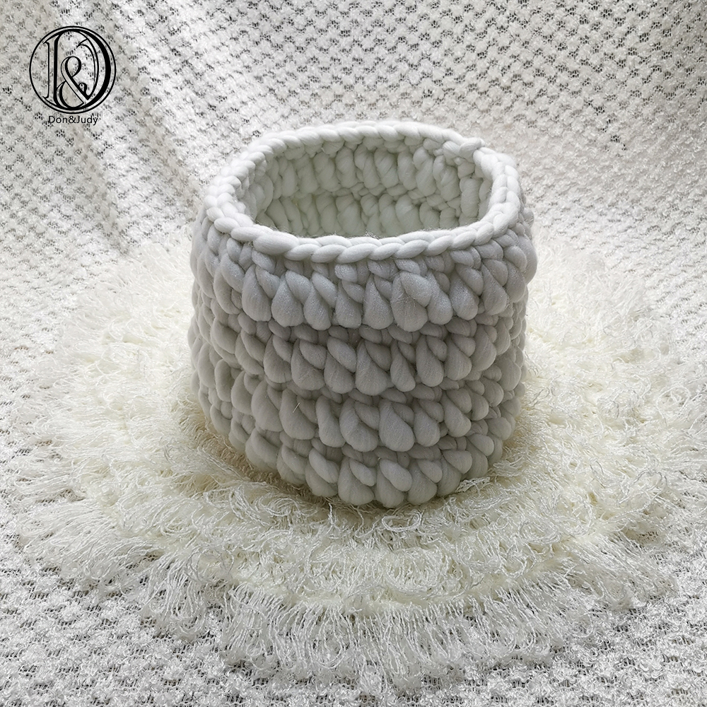 Don&Judy Diameter 50cm Round Mat Blanket + Basket +150x100cm Backdrop Background Set For Newborn Photography Baby Props