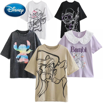 Disney Fashion Snow White Princess Mickey Mouse Cartoon Print Women T-Shirt Casual O-Neck Pullover Short Sleeve Loose Tee Tops 1