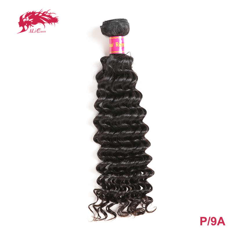 Ali Queen Hair Brazilian Deep Wave Remy Human Hair Weave Bundles 12-30inch P/9A Natural Color 100% Human Hair Weaving