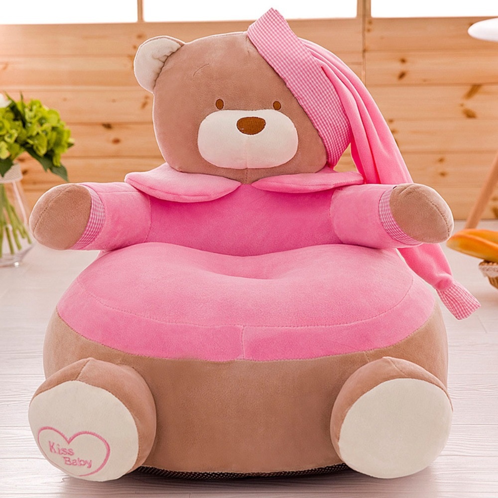 Baby Chair Toddler Nest Puff Seat Children Seat Sofa Washable Only Cover No Filling Kids Bean Bag Cartoon Bear Skin Upscale