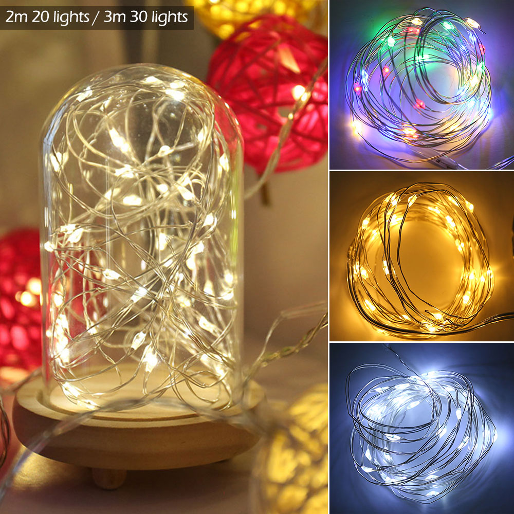 Copper LED String Lights 2M 3M Silver Wire Fairy Garland Holiday Lighting Battery Fairy String Light For Christmas Wedding Party