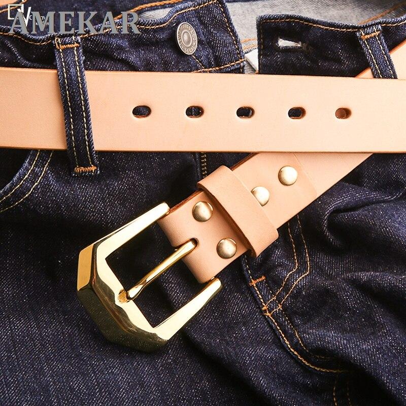 Pure copper men's leather belt leather belt top layer leather belt men's casual belt pin buckle belt