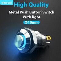 Interruptor de botón de Metal con indicador LED, autoreinicio momentáneo, bloqueo automático, 4 pines, cabeza alta, 3V, 12V, 24V, 220V, 10mm, 1 unidad