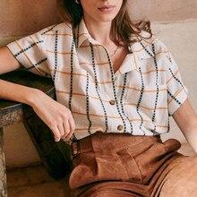 Chemise à carreaux en coton pour femmes, manches courtes, poches, rétro, élégant