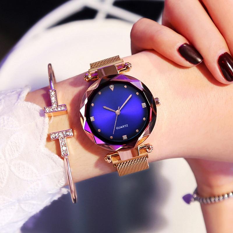 Rose Gold Women Watches Starry Sky Watch Magnetic Relogio Feminino Rhinestone Quartz Wristwatch Female Diamond Watch For WOMEN