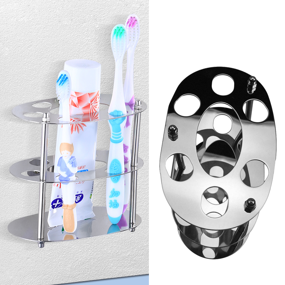 6 Holes Stainless Steel Toothbrush Holder Toothpaste Stand Storage Organizer BY image