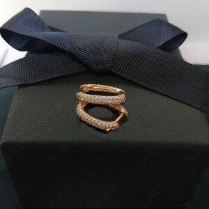 Image 3 - SLJELY boucles doreilles en argent Sterling 925, couleur or Rose, solide, bijou cerceau rectangulaire, zircone, pavé, à la mode, septembre