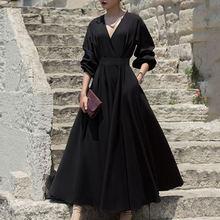 Женское длинное платье до щиколотки однотонное черное винтажное