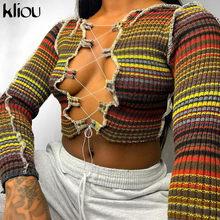 Kliou acanalada impresión múltiple Patchwork hueco camisetas mujeres otoño cuello de encaje elástico Tops Sexy Clubwear mujer Camisetas