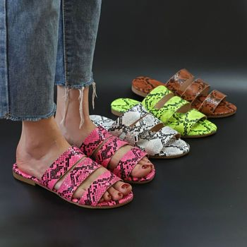 Sandals Snake Non-slip Outdoor Slippers 2020 Women Fashion Wild Wild Beach Shoes Sandals Flat Bottom Ladies Slippers