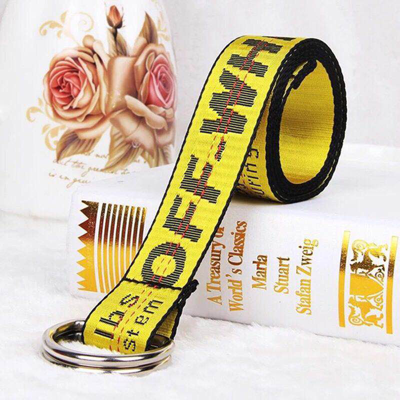 Girl Harajuku   Belt   Letter Printing Fashion Unisex Double D Ring Canvas Buckle Long   Belts   For Jeans Waistband Women Strap