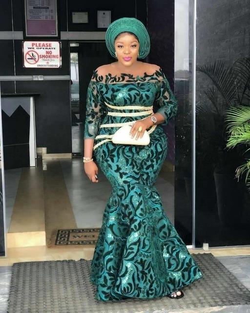 Gran oferta de vestido de fiesta de malla de encaje nigeriano de tela de encaje de alta calidad vestido de terciopelo africano de encaje de tela de lentejuelas GD1710B 3