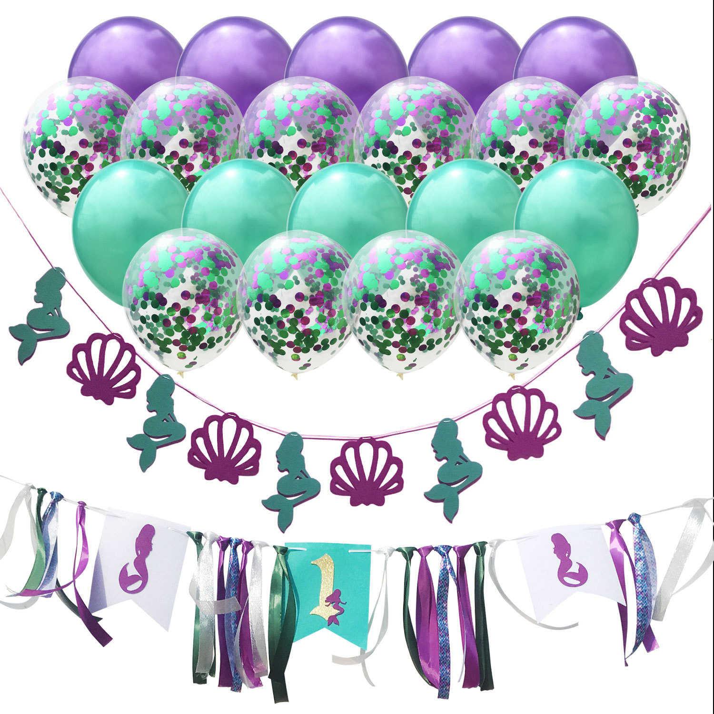 1pc/1set Cartoon Mermaid Baby Boy Girl First Birthday 1 Year Latex Confetti Balloon Flag Baby Birthday Party Baby Shower Decor