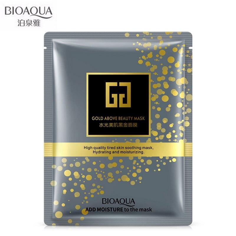 BIOAQUA Facial Beauty Moisturizing Mask Pure Black Gold Biological Collagen Mask Skin Care Whitening Oil Control 1 Pieces