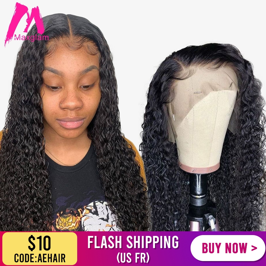 Brazilian Curly Glueless Lace Front Human Hair Wigs Deep Wave For Black Women Pre Plucked Short Long Natural Afro Remy Hair Wig