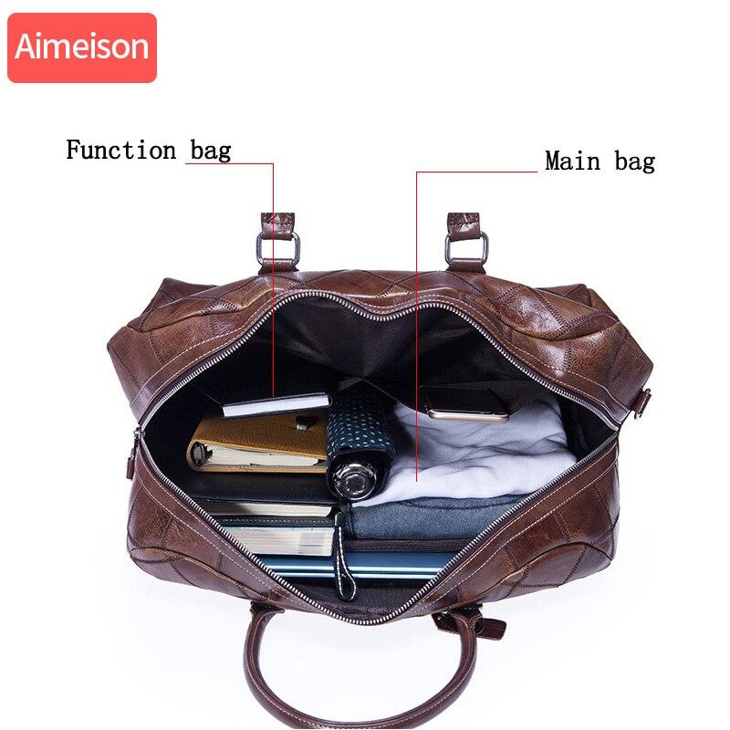 Bolsa de viaje de cuero genuino de Caballo Loco bolso de lona de viaje Vintage para hombre Bolso grande de cuero de vaca llevar en el equipaje de fin de semana bolso de hombro grande - 5