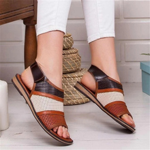 Summer Women Flat Sandals Hollow out Ladies Hook Loop PU Leather Flat S