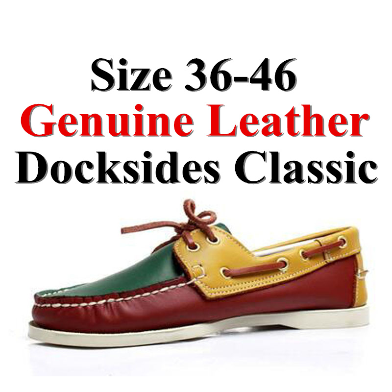 Men Women Genuine Leather Classic Boat Shoes,chaussure Nautique Homme Femme De Docksides  Plus Big Size Brand Flats Loafers X076