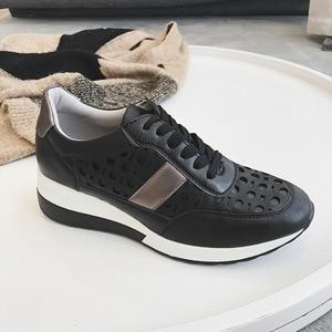 Image 2 - 2020 Flat Platform Sneakers Women Autumn Winter Brand Designer Casual Lightweight Ladies Shoes Hollow Dot Design