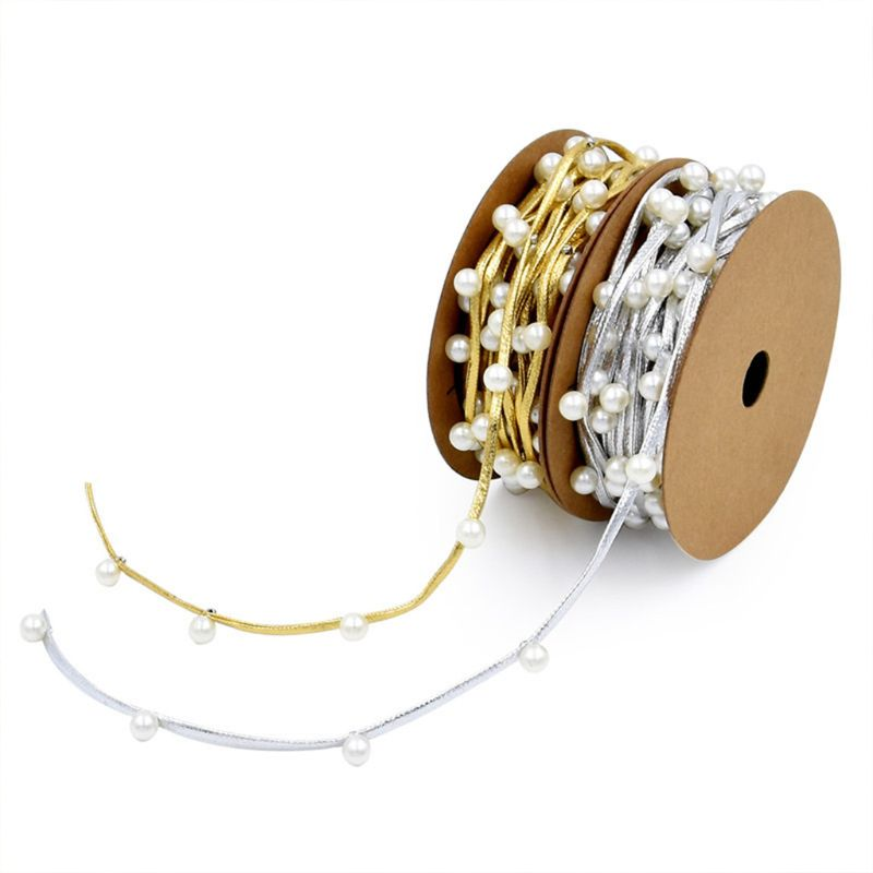 3m Faux Pearl Beaded Metallic Gold Silver Ribbon For DIY Crafts Gift Wrapping