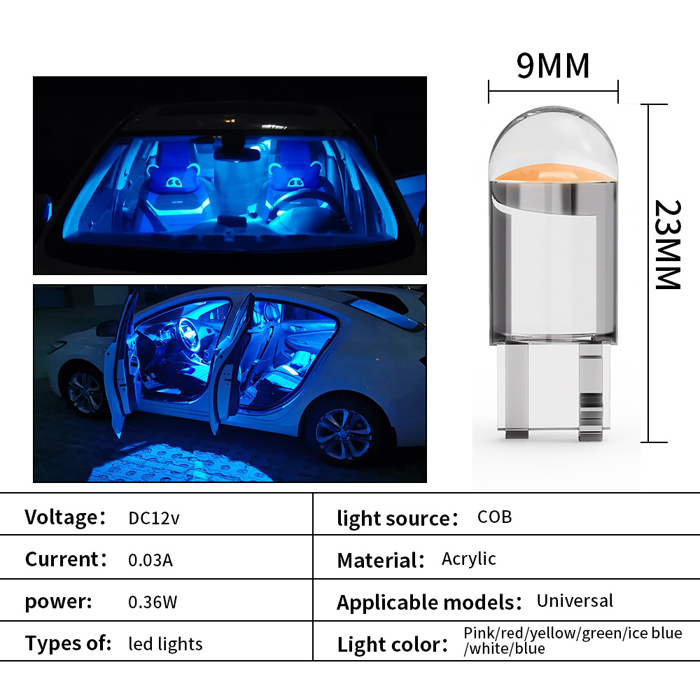 2 W5W 194 T10 Glass Shell Cob LED Car bulb 3000K Amber 6000 White Green Blue Red Wedge License Plate Lamp Dome Light White Diode 3