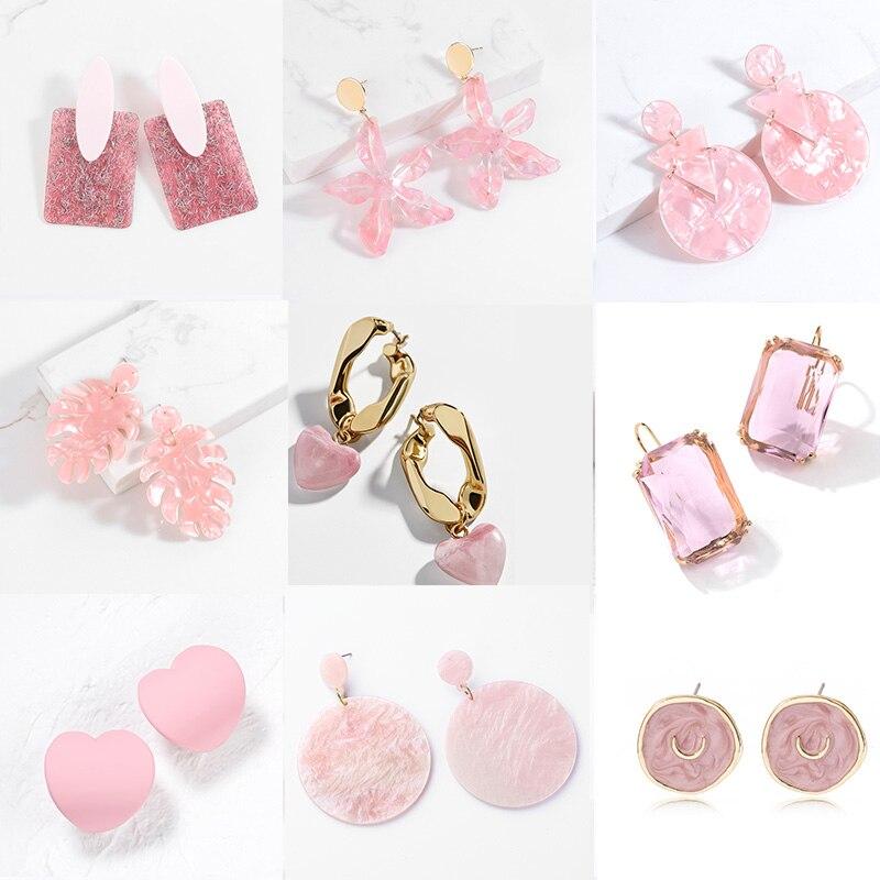 Корейская эксклюзивная Подвеска для женщин розового цвета с сердечком и акрил свисающие серьги для женщин, несколько стилей круглый кулон ...