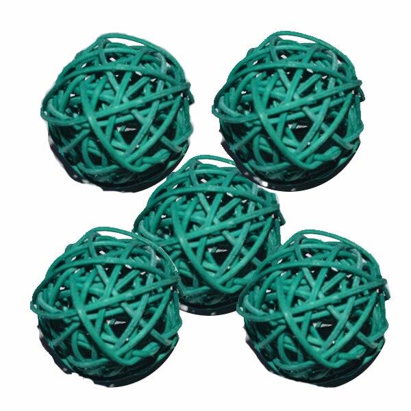 Ротанговые плетеные тростниковые шары диаметром 5 см для сада патио, свадебные, вечерние украшения, DIY для тайского стиля гирлянды - Цвет корпуса: dark green
