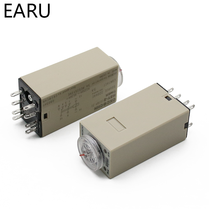 Hec21aa0cd5f24221a63cf9ddd4f89526q - 1pcs H3Y-2 AC 220V Delay Timer Time Relay Switch 0 - 30 Minute/Seconds Adjustable 5A With Base Socket Rotary Knob DPDT