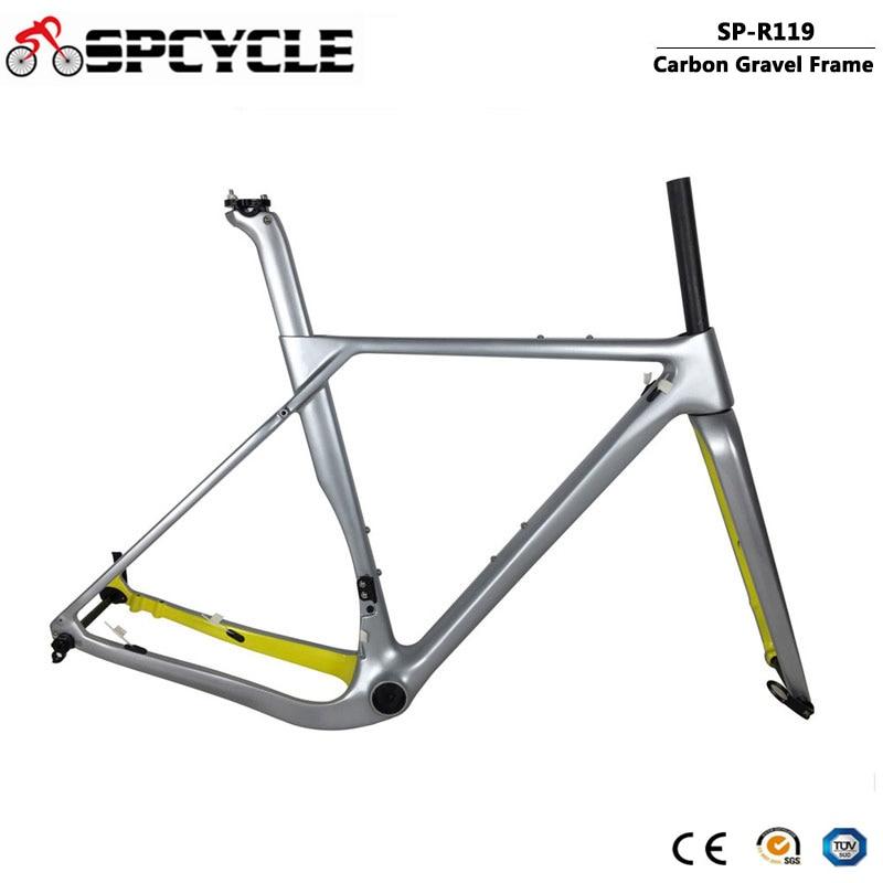 Spcycle Carbon Gravel Frame Aero Carbon Cyclocross Frameset T1000 Carbon MTB Road Bike Frame Compatible Disc Brake And V Brake