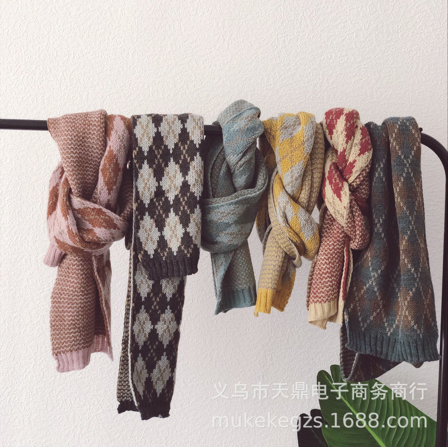 Children's Wool Scarf With Coloured Retro Style Boys And Girls'Warm Knitted Neck In Autumn And Winter