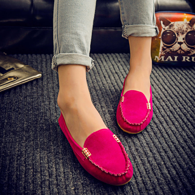 Women Flats Suede Candy Color Loafers Slip On Casual Flat Shoes Soft Ballet Flat Spring Moccasins Shallow Ladies Shoes Puls Size