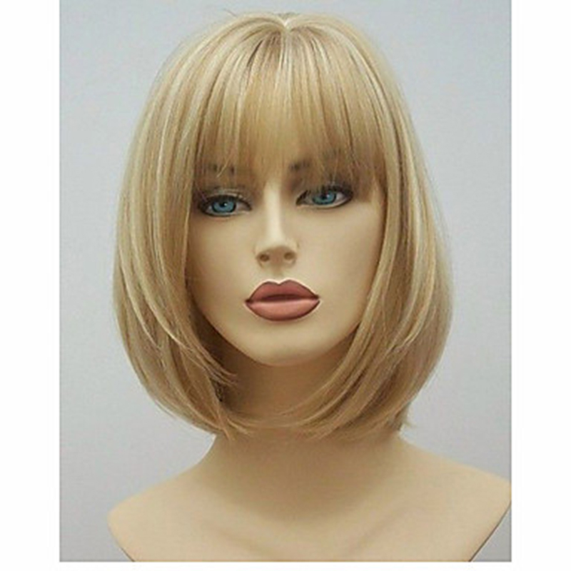 Hairjoy peruca curta sintética, mulheres loira castanho
