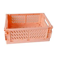 Collapsible Crate Plastic Folding Storage Box Basket Utility Cosmetic Container Desktop Holder Home Use M5TE