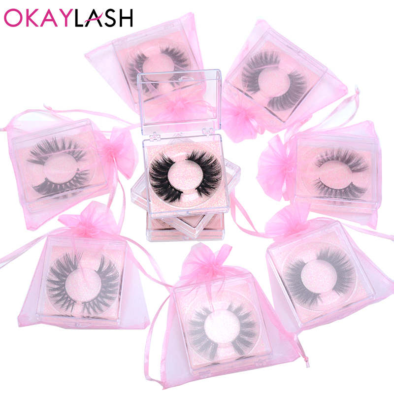 OKAYLASH 1pair/case  3D Faux Mink Eyelash Cruelty Free Soft Fluffy Luxury 5D Fake Mink Lashes With Pink Lash Packaging