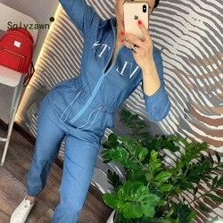Damski kombinezon w stylu casual niebieskie długie spodnie 2019 moda luźny list drukuj Playsuit Plus Size kobiety odzież robocza Zipper pajacyki