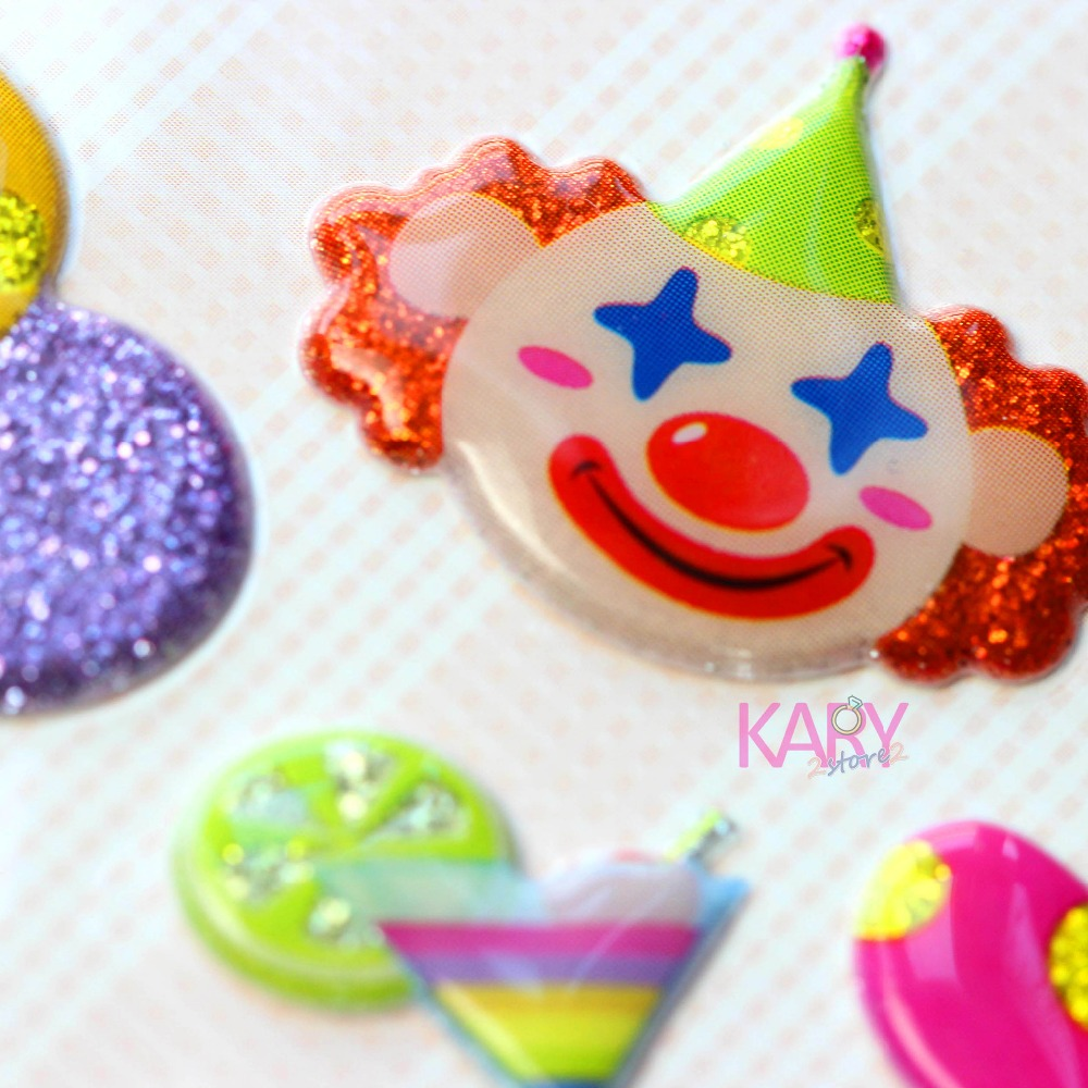Party Gift Champagne Balloon Cute Clown Scrapbooking Shiny Sparkle Bubble Puffy Stickers Special Toys Reward Kids Children 13-9