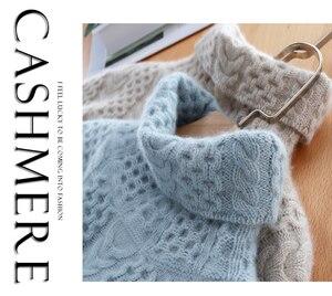 Image 2 - 2019 nova moda dupla engrossar solto gola alta suéter de caxemira feminino manga longa camisola de malha sólido pullovers