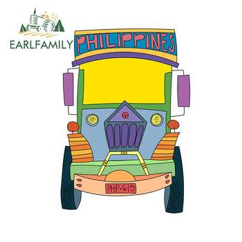 EARLFAMILY 13cm x 9.2cm For Filipino Jeepney DIY Motorcycle Car Stickers Occlusion Scratch Decal Suitable for RV JDM Decoration image