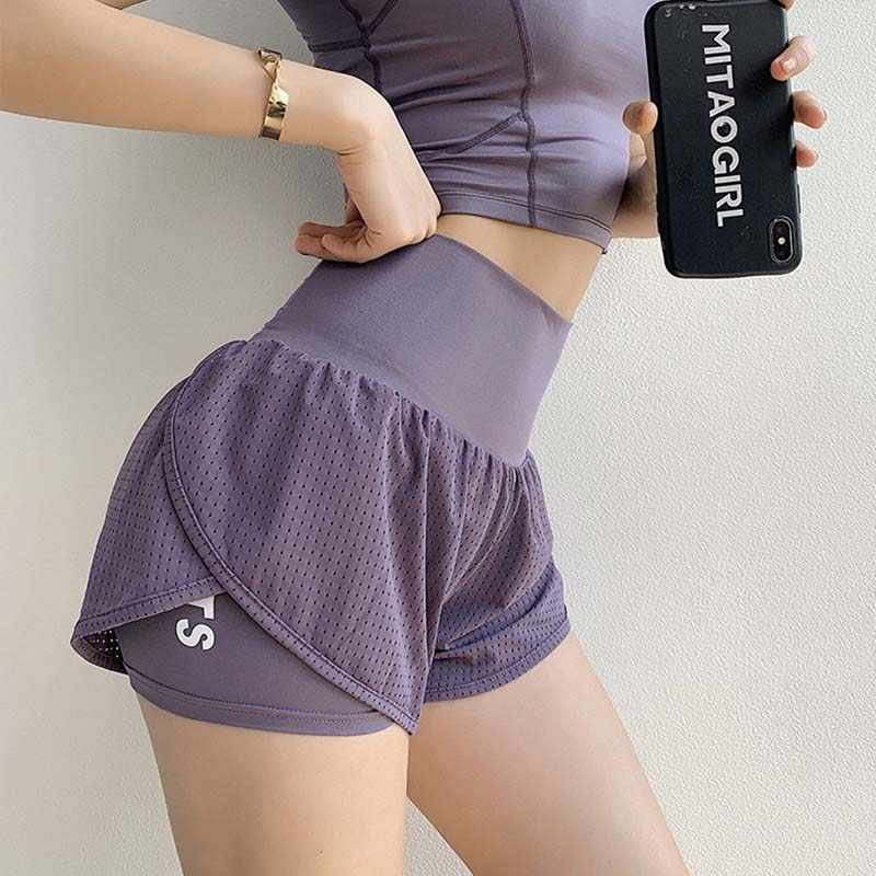 Vrouwen Mesh Yoga Shorts Zomer Hoge Taille Running Shorts Quick Dry Gym Losse Wijde Pijpen Fitness Shorts Gym kleding