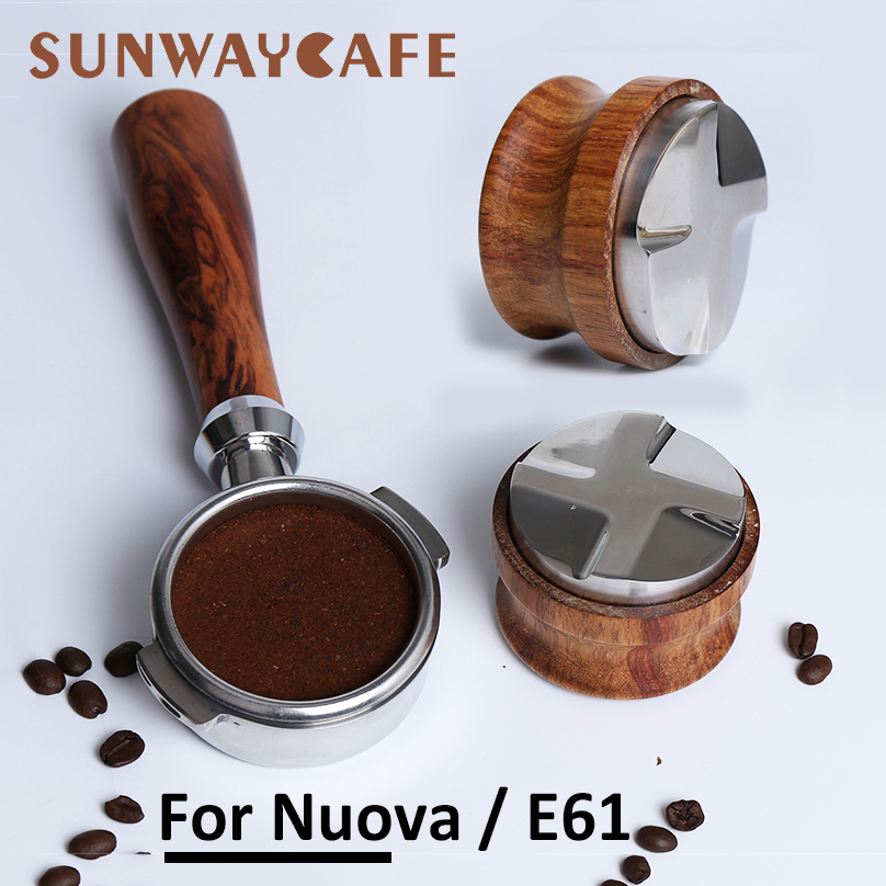 Espresso Coffee Machine Bottomless Filter Holder Portafilter E61 For Nuova 58MM Solid Wooden Tamper Stainless Steel Accessory